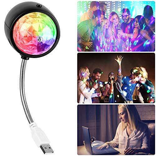 Tronisky Discokugel, 2-In-1 Disco Lichteffekte und LED Tischlampe für Allgemeinbeleuchtung, Tragbar Disco Party Lichter Mini Discolicht DJ Ball Licht für Bühnenbeleuchtung, USB-Aufladung