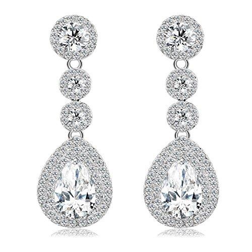 BiBeary Damen Kristall Tropfen Form zwei rund Fashion Anhänger Ohrhänger Ohrringe klar Silber-Ton