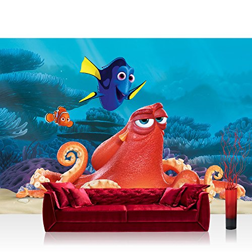 Papel Pintado Fotográfico Premium Plus pared papel pintado fotográfico pared de papel pintado–Disney Buscando a Nemo Dory bajo agua pez cartoons Ilustración Multicolor–No. 1293, carbón, Fototapete 254x168cm   PREMIUM Blue Back
