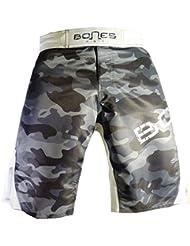 "'""Bones Fight > Fight Short, MMA Short, BJJ, MMA Pantalones Cortos, Freefight–Pantalones cortos, diseño de camuflaje, color Weiß/camouflage/grau, tamaño XXL"