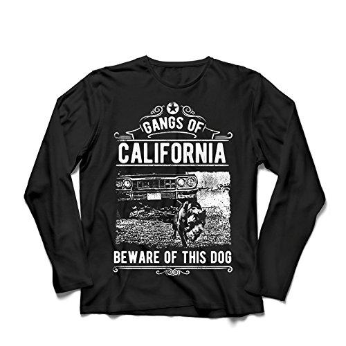 lepni.me Long Sleeve T Shirt Men The Gangs of California - Beware of This Dog! Street Gangster Clothing - Money, Power, Respect!