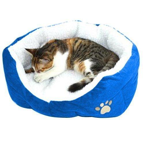 MFEIR Hundebett Katzenbett Baumwolle Pet Bett Kissen für Hunde Katzen Kleintiere,Blau,Klein