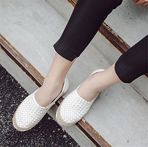 LDMB Frauen gewebte Schuhe handgefertigte gewebte elastische Schuhe flach mit Lazy Schuhe White