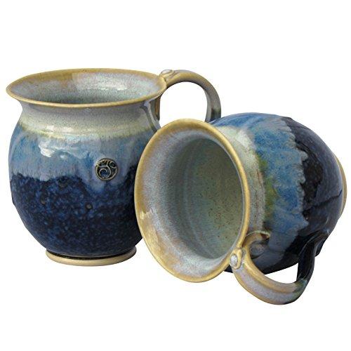 Handgefertigt Irish Coffee & Tea Becher. Set von zwei blau Weinkühler handgetöpfert Becher 300ml Irish Coffee Becher