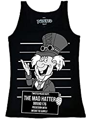 Twisted Punk Disney Alternative Steampunk Mad Hatter Mug Shot Tatouage Vest Top