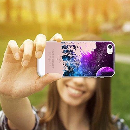iPhone SE iPhone 5 5S Hülle, WoowCase® [ Hybrid ] Handyhülle PC + Silikon für [ iPhone SE iPhone 5 5S ] Bäume und Universum Handytasche Handy Cover Case Schutzhülle - Transparent Hybrid Hülle iPhone SE iPhone 5 5S H0022