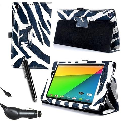 Gadget posterdepot Asus Google Nexus 7 2 II Tablet (lanzado julio 2013) 2nd Generation cebra funda protectora de cuero soporte Protector incorporado - Smart Cover imán del Sensor para dormir/reposo para el Asus Google Nexus 7 Tablet II-2nd 16 GB y 32 GB, Qualcomm Snapdragon S4 1,5 gHz, 2 GB RAM, WiFi, NFC, BT, cámara de 2 x, Android 4,3 y Protector de pantalla y especial Micro fibra estilete y cargador de coche