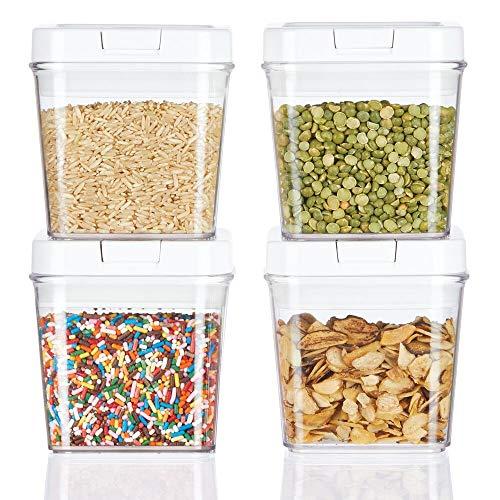 mDesign 4er-Set Frischhaltedosen - luftdichte Aufbewahrungsbox aus Kunststoff für Küchen- und Kühlschrank - kleine BPA-freie Vorratsdosen für Kaffee, Müsli, Backzutaten etc. durchsichtig