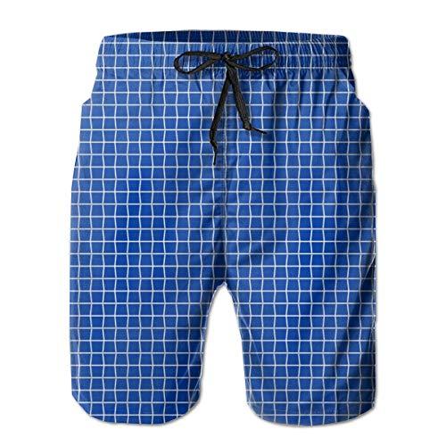 Tennissaiten Blue_373Herren Summer Beach Shorts, 2XL,Bunter, langlebiger Polyester-Surf-Skate-Strand