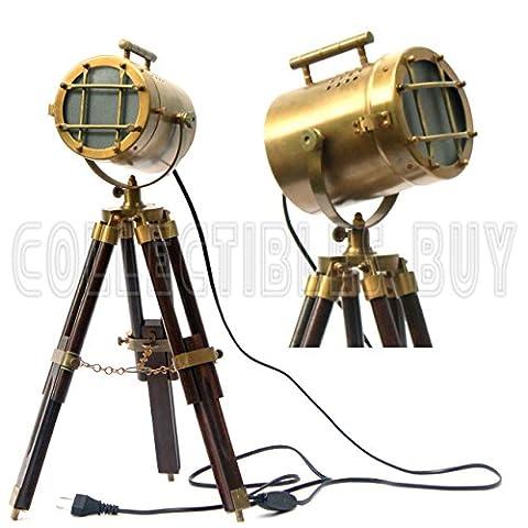 Cru Maritime Antique En bois Table Lampe Marin Sol Lumière Nautique Projecteur Royal LED Éclairage