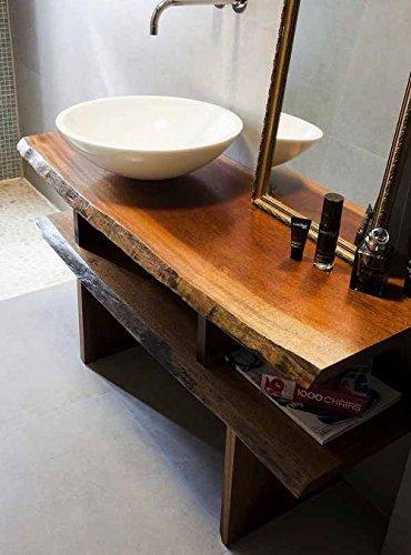 Wood art ely mobile da bagno con lavabo incluso,legno massello di castagno da 6 cm,dimensioni 150x30/33x100,mensola porta ogetti e mensola 4 piani asciugamani incluse