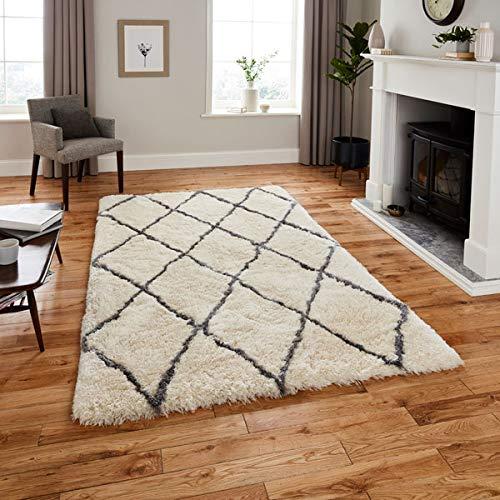 Shag Teppich Acryl (Think Rugs Teppich, Mikrofaser-Acryl, 150 x 230 cm, elfenbeinfarben)