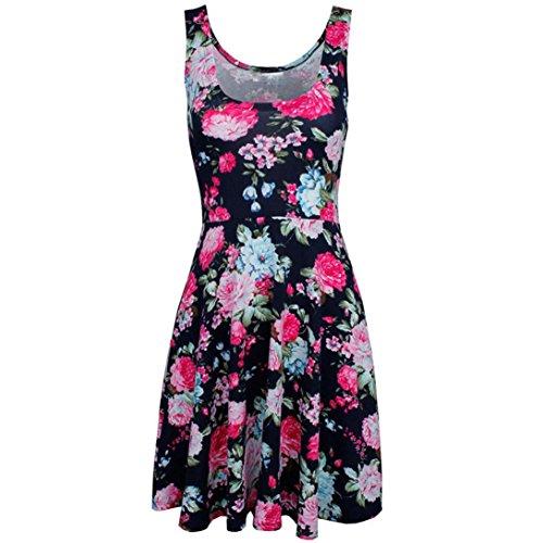 OYSOHE Women's Summer Dress Print O-Neck Floral Vest Sleeveless Mini Dresses