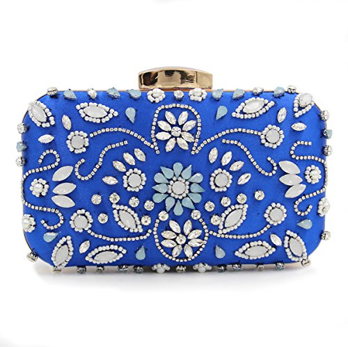 Flada Girl's and Womens Luxury Evening Clutch Oval Strass Beaded Wedding Handtasche rot navy blue