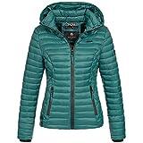 Marikoo SAMTPFOTE Damen Stepp Jacke Daunen Look Gesteppt Übergang XS-XXL 11-Farben, Größe:XS;Farbe:Deep Green