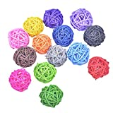 15 Pc Handmade Wicker Rattan Ball for Wedding Christmas Party Hanging Decoration, Bird Toys, Bowl and Vase Filler