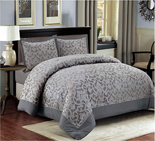3 TLG. XL Moderne Doppelbett Bettgarnitur 230x250cm Tagesdecke mit Kissenbezug Bettüberwurf Bett Decke + Kissenbezüge Patchwork + Kissen-Bezug 3 Teile Set - Mit Tagesdecke