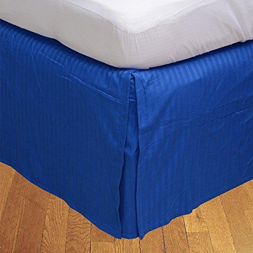 royallinens 600tc Georgeous 1Box Bundfaltenhose Bettvolant Streifen (Drop Länge: 73,7cm), baumwolle, Royal Blue Stripe, EU_Double (Royals Baum Kleidung)
