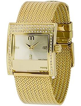 Moog Paris - Champs Elysées Damen Uhr mit Champagner Zifferblatt, Swarovski Elements & Gold Armband aus Edelstahl...