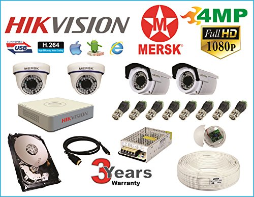 Hikvision 4 Ch Turbo HD Dvr & Mersk Full HD (4MP) CCTV Camera Kit with (All Required Accessories) Note : No Installation Service