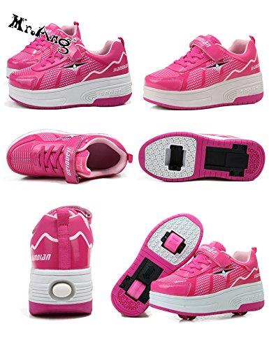 Unisex Mädchen Jungen Kinde Rädern Automodelle Jungen und Mädchen Schlittschuh Rollschuhe Tandem Skateboard Schuhe rosa zwei Roller