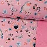 Softshell Stoff Vögel & Blümchen rosa - Preis Gilt für