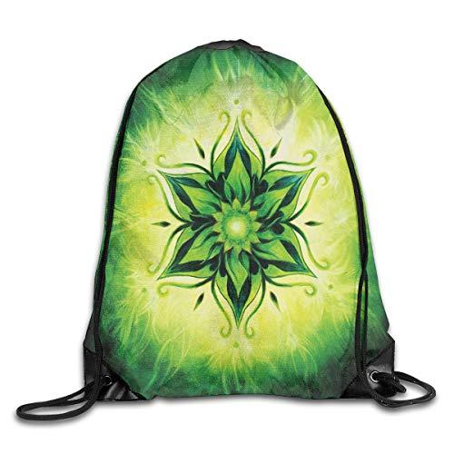 HLKPE Drawstring Backpacks Bags Daypacks,Psychedelic Floral Mandala Ethnic Meditation Mystic Sacred Digital Image,5 Liter Capacity Adjustable for Sport Gym Traveling