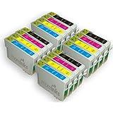 T0715 - 16 Cartouches d'encre Compatibles pour Epson Stylus SX515W SX415 SX218 SX200 SX215 SX600FW SX510W SX400 SX115 SX205 SX110 SX610FW SX100 SX405 SX410 SX105 S20 SX210 Wifi S21 DX8400 DX8450 DX4450 DX5000 DX7400 DX7450 DX6000 DX4400 D92 DX6050 D120 DX4000 DX4050 DX5050 DX9400F & Range D78 DX8000 DX7000F Network DX6050EN Office BX610FW BX300F BX310FN BX600FW B40W BX510 - Cyan / Magenta / Jaune / Noir Avec Puce
