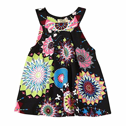 Amlaiworld Sommer Bunte Geometrie drucken Neckholder Kleid Party Mandala Ärmellos Kleider Mode Strand Mädchen locker Oberteile niedlich Dress Kleidung,1-8 Jahren (3 Jahren, Schwarz)