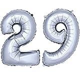 DekoRex® número globo decoración cumpleaños brillante para aire en argentado 40cm de alto No. 29