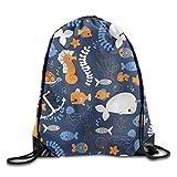 ZHIZIQIU s Ocean Friends Drawstring Bags Portable Backpack Pocket Bag Travel Sport Gym