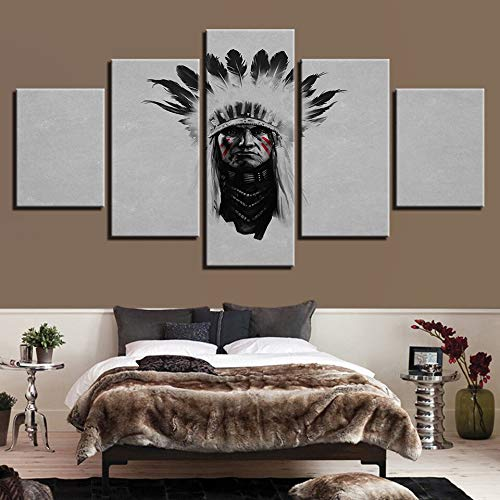 mmwin Modern Canvas Pictures HD Stampato Wall Art 5 Pezzi America Indiani Living Room Home Decoration s Posters