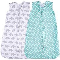 Saco de dormir para bebé, 2 unidades, color verde menta/elefante