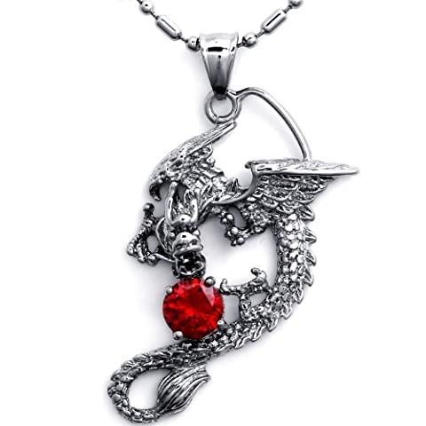 JewelryWe New Arrivals Stainless Steel Men's Ladies Dragon Pendant Necklace (Red)