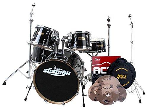 xdrum-stage-ii-batteria-completa-drum-set-con-piatti-mes-supporti-nera