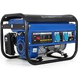 EBERTH 3000 Watt Benzin Stromerzeuger Notstromaggregat Stromaggregat Generator (Automatischer Voltregler AVR, 6,5 PS Benzinmotor, 4-Takt, luftgekühlt, Ölmangelsicherung, Seilzugstart, 1-Phase, 2x 230 V, 1x 12 V, Voltmeter), blau