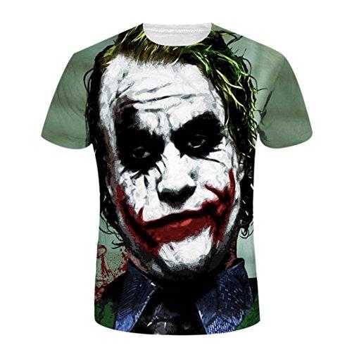 Bold Manner Herren und Damen Bunt T-Shirt 5D Druck Clown Rundhals Tops Kurzarm Streetwear (Clown-licht-t-shirt)