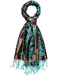 Lorenzo Cana High-End Pashmina Scarf 100% Silk 75'' x 28'' Shawl Jacquard Woven Soft And Supple