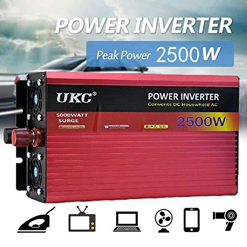 xbqyd 2500W Wechselrichter Steckdosen 12 / 24V DC bis 220V Wechselrichter Spannungswandler Inverter Spannungswandler für Auto Ladegerät Adapter, Modell mit USB Konverter -