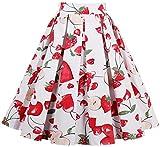 EUDOLAH Damen Kleid Vintage Sommerrock Knielang Faltenrock Stoffdreuck Erdbeere Gr.M