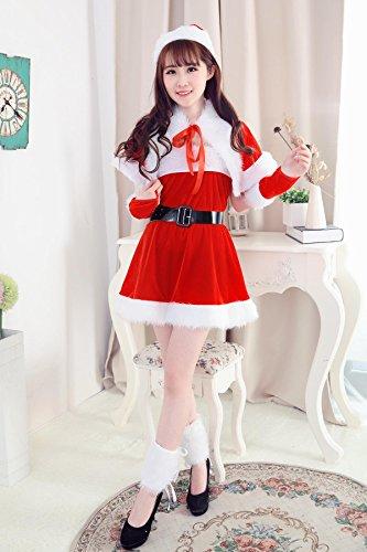 Frauen Santa Kostüme Weihnachtsfest-Kostüm Weihnachtsfest-Nette Weihnachtsmann-Kleider Rote Stadiums-Leistungs-Kleidung Einschließlich Rockschalhut schwarze Gurthandschuhe 2 Beine dekoriert (Home Kostüme Frauen)