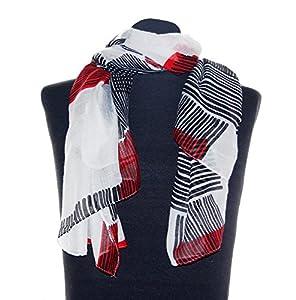 Weißer Damenschal Maren, ca. 90 x 180 cm, Damentuch mit roten und schwarzen Streifen, trendiges elegantes Damen Schaltuch