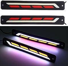 DELHITRADERSS 2X Car Auto Lamp COB LED DRL Daytime Running Light Flexible Strip Light Lamp