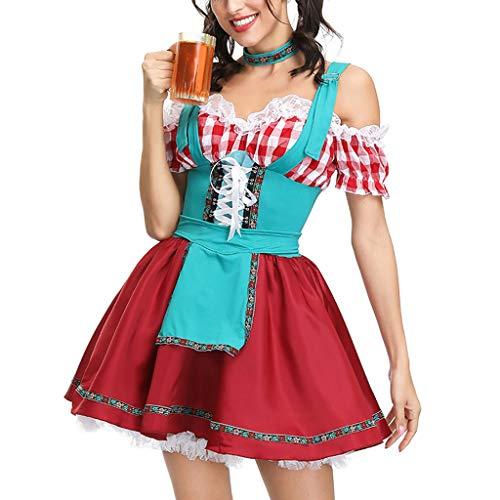 ToDIDAF Oktoberfest Dirndl Damen Kleid Trachten Festival Kleidung Cosplay Kostüm for Oktoberfest Karneval Halloween Party Rot M