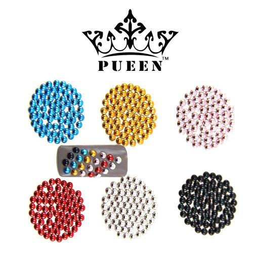 Pueen 3D Nail Art 600 pièces en métal ronde 3mm Goujons en 6 couleurs différentes pour les téléphones portables et les décorations d'ongles