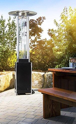 Heizpilz Heizstrahler Terrassenstrahler 'Optical Pro' schwarz matt: CE-zertifizierter Gasheizer mit elegantem Design robuster Stahl-Alu-Rahmen für stabilen Stand des Terrassenheizers Gesamthöhe 225 cm - 2