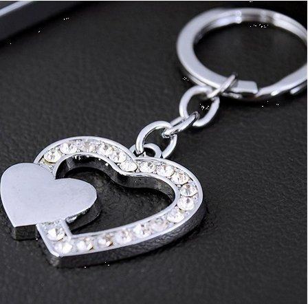 Cuore tempestato di cristalli elegante portachiavi ciondolo coppia amico regalo San Valentino