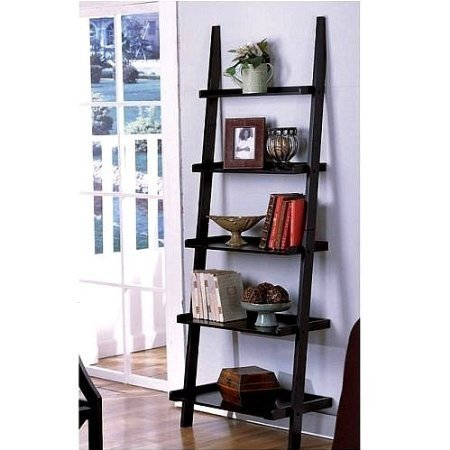 """Unique 72"""" High LEANING LADDER STYLE MAGAZINE / BOOK SHELF on Black Finish with Mini Tool Box (cog) by The Decor Collection"""