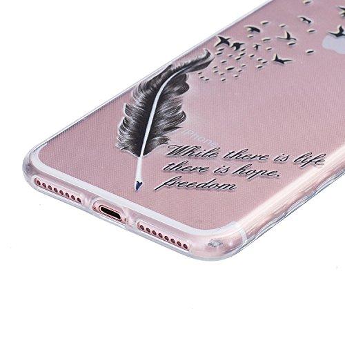 iPhone 7 Plus Hülle,SainCat iPhone 7 Plus Silikon Hülle Tasche Handyhülle Kirsche Muster [Campanula Feder] Schutzhülle Transparent TPU Gel Case Bumper Weiche Crystal Kirstall Clear Silikonhülle Durchs Vogelfedern