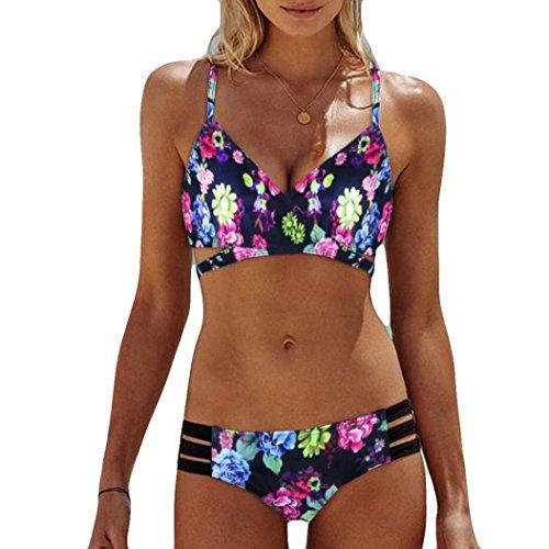 TWIFERBöhmen Push-Up Gepolsterte BH Beach Bikini Set Mädchen Badeanzug Bademode (M, Mehrfarbig)